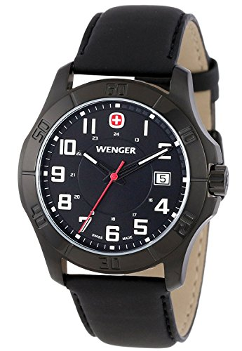 Wenger Men's 70475 Alpine Black PVD Black Synthetic Leather Strap Watch
