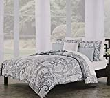 Nicole Miller Home Brocade Boho Paisley Print Bedding Gray Leafy Scrolls Design 100% Cotton Duvet Cover 3pc Set Grey (Queen)