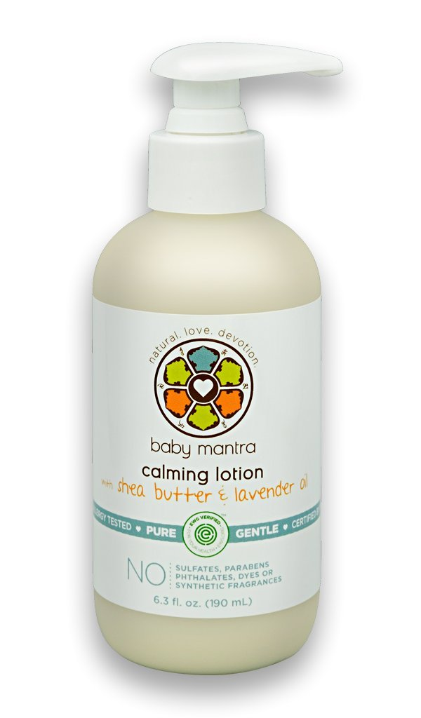 Baby Mantra Calming Lotion - EWG Verified Baby Moisturizing Cream with Shea Butter and Lavender Oil - Best for Newborns, Infants, and Babies with Sensitive Skin - 6.3 Ounce Pump Bottle by Baby Mantra