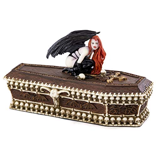 Fantasy Sculpture - Top Collection Pale Vampire on Coffin Burial Bed Statue- Hand Painted Gothic Dhampir Fantasy Role Play Death Sculpture -4.5-Inch Decorative Jewelry and Dice Casket Keepsake Box