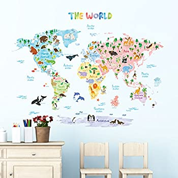 Amazon decowall dlt 1615 animal world map kids wall decals wall decowall dlt 1615 animal world map kids wall decals wall stickers peel and stick removable gumiabroncs Images