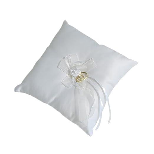 Blanco cuadrado de anillos de boda cojín con rosa: Amazon.es ...