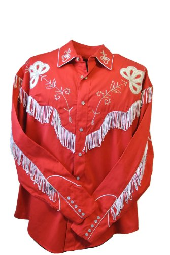 - Rockmount Men's Vintage Western Embroidered Fringe Snap Shirt, XX-Large, Red