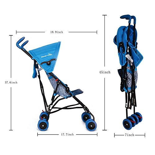 WonderBuggy Skyler Jumbo Umbrella Stroller | Features a Round Adjustable Canopy | Available in Hot Pink and Teal Blue (Teal Blue) by Wonder buggy (Image #5)