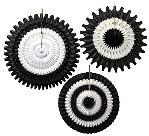 3-piece Black and White Tissue Paper Fan Decoration Kit (21 inch, 18 inch, 16 -