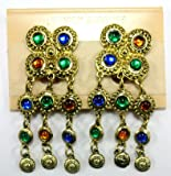 Byzantine Inspired Brushed Gold Dangle Earrings with Multicolored Gemstones