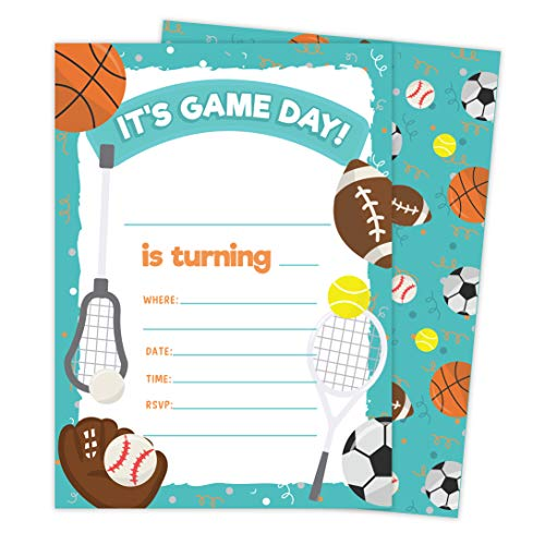 Sports 2 Invitations (25 ct.) Invite Cards Happy Birthday Invitations Invite Cards With Envelopes and Seal Stickers Vinyl Girls Boys Kids Party (25ct)