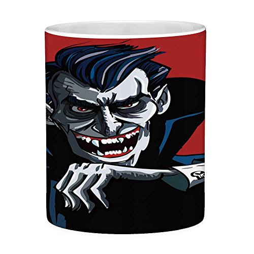 Funny Coffee Mug with Quote Vampire 11 Ounces Funny Coffee Mug Cartoon Cruel Old Man with Cape Sharp Teeth Evil Creepy Smile Halloween Theme Blue Red Grey ()
