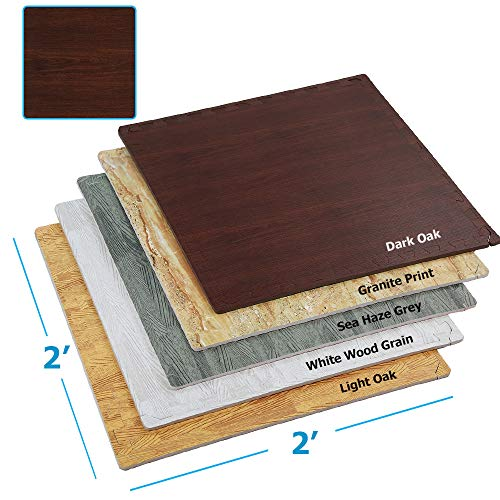 Clevr 100 Sq. Ft EVA Interlocking Foam Mats Flooring, Dark Wood Oak Grain Style - (24