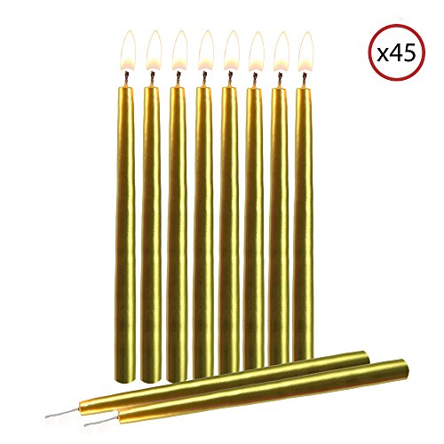 "Gold Birthday Candles - Gold Birthday Candles 45 Pack – Dripless Decorating Candle for Centerpiece Holders, Cakes and Parties - Elegant Taper Design, 5.5"" Tall - by Hyoola Candles"