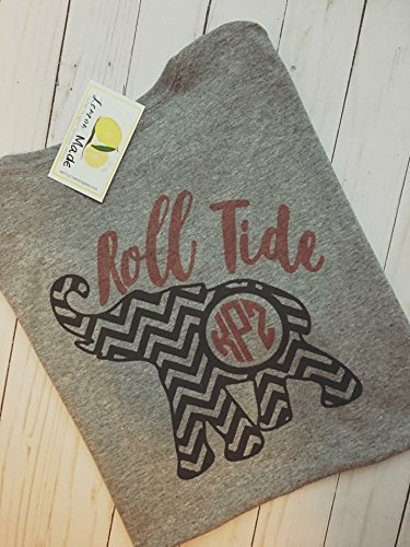 Alabama monogram shirt with Roll Tide and Chevron Elephant