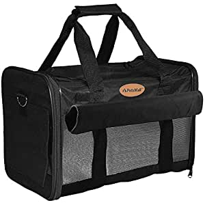 PetsN'all Airline Approved Pet Carrier Soft-Sided Foldable and Comfort Dog Travel Carrier Superior Ventilation - Black