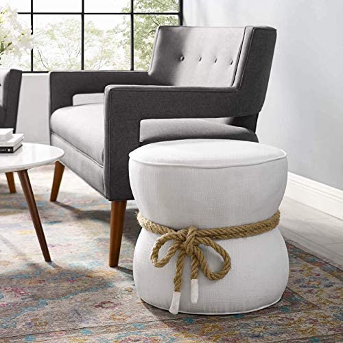 Modway Beat Upholstered Fabric Nautical Rope Round Ottoman in White