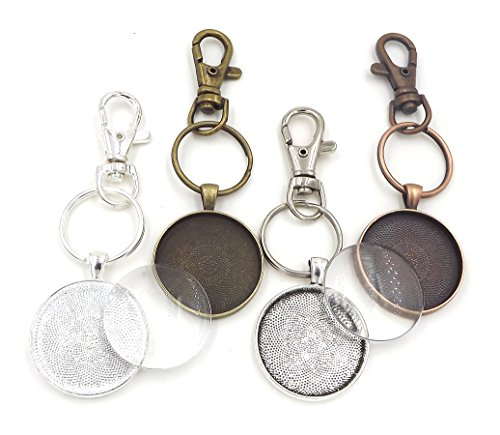 12 Deannassupplyshop 30mm Pendant Trays with key chain and glass dome - Multicolor - 30mm - Pendant Blanks Cameo Bezel Settings Photo Jewelry - Custom Jewelry - Chain Glass Round