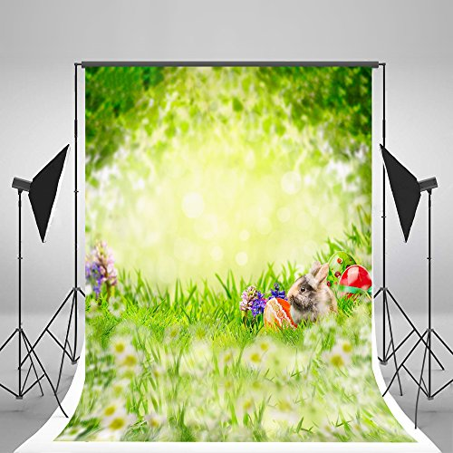 5x7ft Spring Easter Photography Props Easter Eggs Flowers Photo Studio Backgrounds Green Natural Scenery Cute Rabbit Backdrops for $<!--$32.00-->