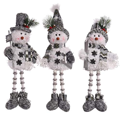 (Transpac Imports, Inc. Bead Leg Snowman Shelf Sitter Grey 15 x 5 Plush Christmas Figurines Set of 3 )