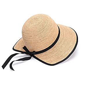 JDFHSD Sun Hat Women's Straw Hat Summer UV Folding Beach Hat Big Hat Fishing Cap (Color : Beige)
