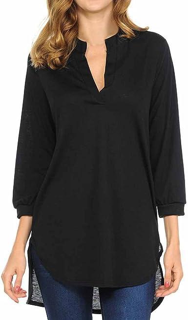 WARMWORD Blusas de Mujer, Mujer Camiseta Elegante Casual Hombros Descubiertos Blusa Mangas Largas Cuello V Jersey Punto Suelto Top Damas Moda Algodón Moda Tops Camisa Blusa: Amazon.es: Ropa y accesorios