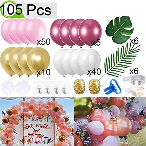 QAQGEAR Balloon Garland Arch Kit 105Pcs Decoraciones Globos Globos de Oro Rosa Blanco metálico para Bodas Baby Shower Despedida de Soltera, Compromiso, Fiesta de cumpleaños y Aniversario con Kit de