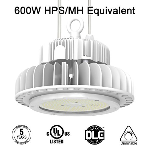 Adiding LED High Bay Lighting,150W UFO Hi Bay Light 130 Lm/W Lumileds SMD 3030 LED 19500 Lumens(600W HID/HPS equivalent)5000K Dimmable MeanWell Driver for Garage Warehouse Workshop DLC - Shop Warehouse