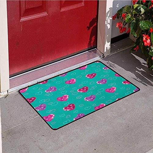 GloriaJohnson Teal Front Door mat Carpet Crystal Hearts Gemstone Figures Love Valentines Day Celebrating Romantic Print Machine Washable Door mat W23.6 x L35.4 Inch Red Fuchsia Teal