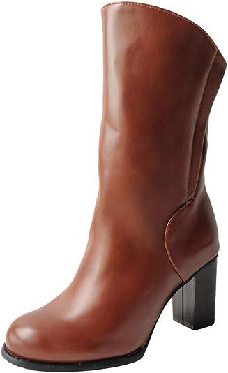 Damen PU Ankle Boots Schuhe Booties Stiefel Stiefeletten Flache Schlupf Gr.36-43