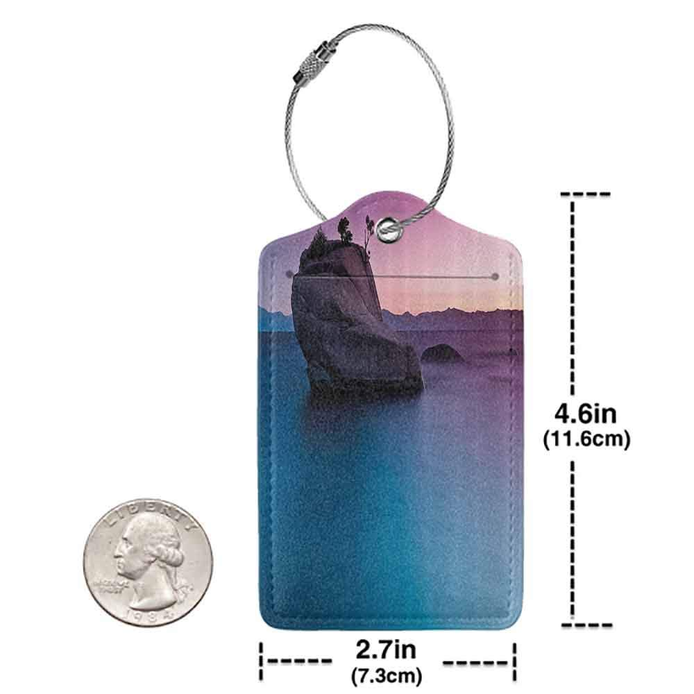 Decorative luggage tag Nature Bonsai Rock in Lake Tahoe Tropical Surreal Scenery Exotic Vivid Colors Artwork Suitable for travel Purple Grey Blue W2.7 x L4.6