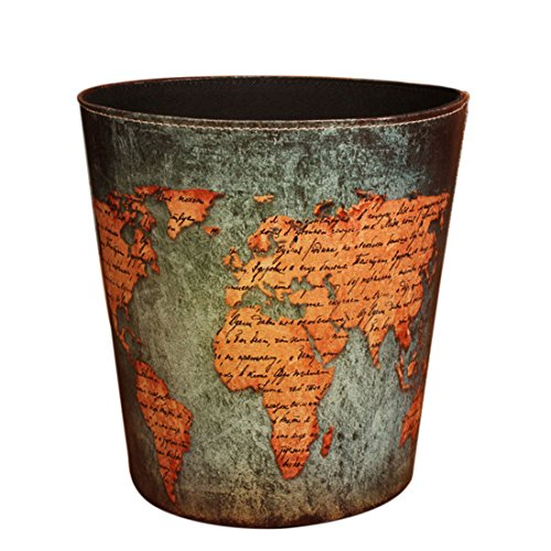Wastebasket, Yamix Retro European Style Household Home Office Round PU Leather Waste Bin Paper Basket Trash Can Dustbin Garbage Bin Waste-paper Basket Ashcan Ashbin without Lid - World Map (Trashcan Wooden)