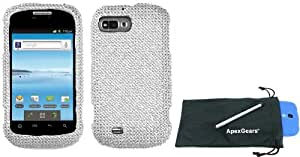 For ZTE Valet Z665C Full Diamond Design Hard Phone Cover Case with Stylus Pen and ApexGears Phone Bag (Silver)
