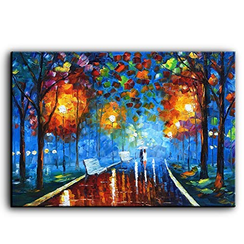 YaSheng Art -Landscape Oil Painting On Canvas Rain Street Tree Lamp Textured Abstract Contemporary Art Wall Paintings Handmade Painting Home Office Decorations Canvas Wall Art Painting 24x36inch