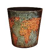 Trash Can, Peleustech without Lid European Style Retro PU Leather Wastebasket Paper Basket Trash Can Dustbin Garbage Bin - World Map Pattern