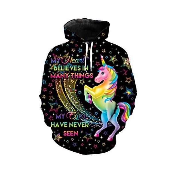 Rainbow Unicorn Print Cool Hooded Sweatshirt Cute 4