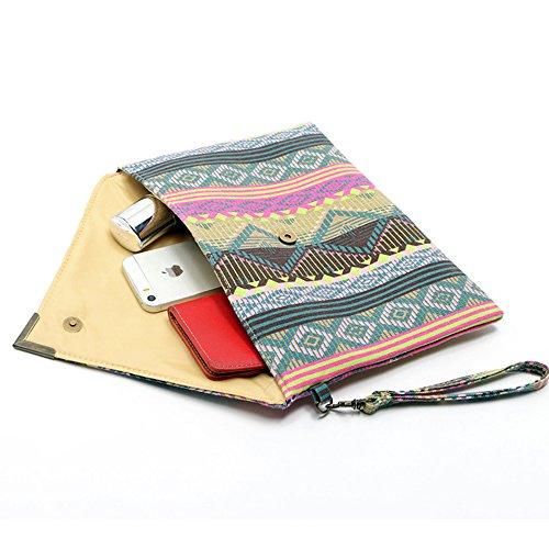 Ethnic LUI Envelope Hand Hot Clutch SUI Summer Cr37 Black bag Exotic beach purse qwRO48q
