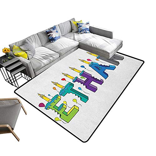 """Price comparison product image Ethan Home Custom Floor mat Celebration Themed Candles and Bitten Cake Popular Male Name Birthday Party Image 70""""x82"""", Can be Used for Floor Decoration"""
