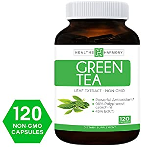 Best Green Tea Extract (NON GMO) 120 Capsules With High Potency EGCG For Weight Loss & Metabolism Boost - Natural Diet Pills - Powerful Polyphenol Catechins Antioxidant Supplement
