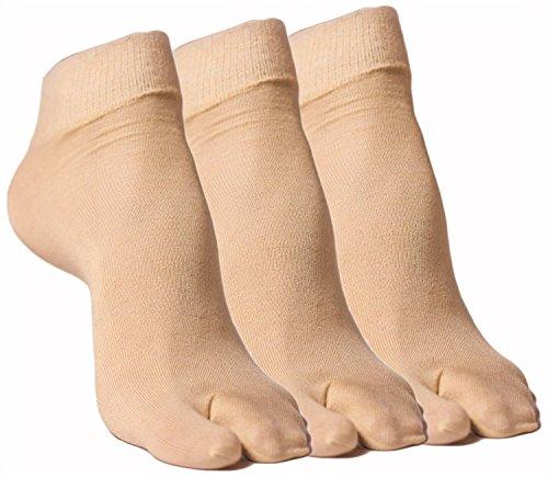 Simon Women #39;s Ankle Length Synthetic Socks  Pack of 3   76_03_Skin