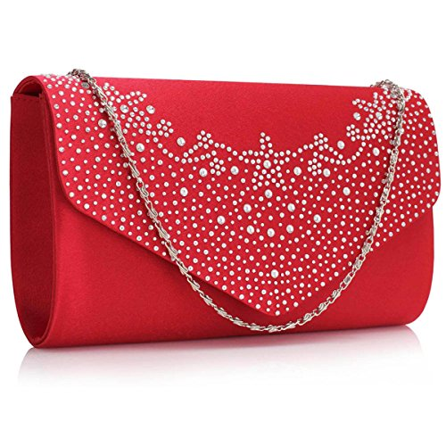 Sequin Womens Ladies London Wedding Clutch Satin Diamante Bags Red Evening Envelope Bridal Xardi wFqdXz0z
