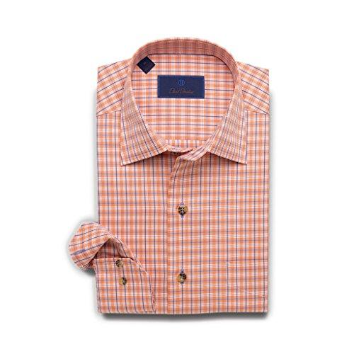 David Donahue Men's Herringbone Plaid Sport Shirt, Melon Orange, Medium ()