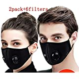 N99 Dust Mask - Activated Carbon Face Mask with Extra Filter Cotton Sheet 2 Valves for Exhaust Gas Pollen Allergy PM2.5 Running Cycling Outdoor Activities (black+black)