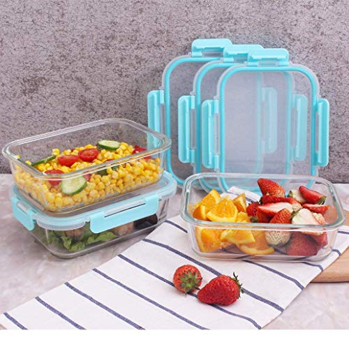 AILTEC 3 Pack Glass Meal Prep Containers with Removable Snap Locking Lids(3 Containers+4 Lids),Lunch Box BPA-Free,Microwave,Oven,Freezer,Dishwasher Safe (4.5 Cup,35.5 Oz,Rectangle ()