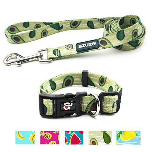 azuza Dog Collar and Leash Set, Adjustable Nylon Collar with Matching Leash, Avocado Parttern for Medium Dogs