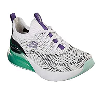 Skechers Skech-Air Stratus Womens Sneaker, White/Turquoise/Purple, 7.5