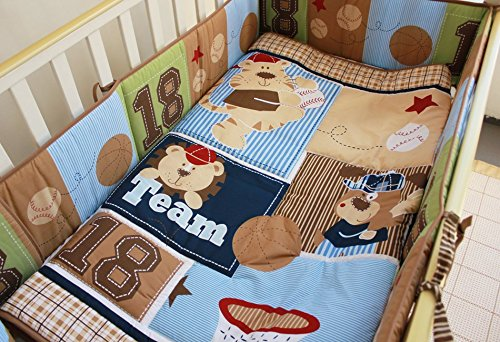 NAUGHTYBOSS Boy Baby Bedding Set Cotton Cartoon Bear Play Baseball Pattern Quilt Bumper Bedskirt Fitted Diaper Bag 8 Pieces Set Blue by NAUGHTYBOSS