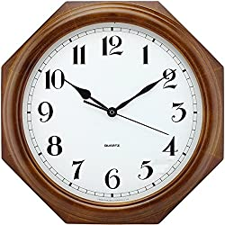 Eif FEI Wall Clock Living Room Wood Decorative Wall Clock Mute Quartz Clock Polygon Digital Clock
