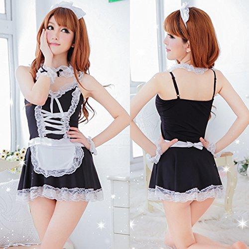 Zlimio Women Ladies Hot Sexy Lingerie Black&White Apron Maid Servant Costume Dress Uniform Lingerie Set