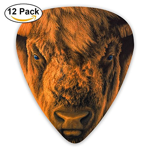 (12-pack Fashion Classic Electric Guitar Picks Plectrums Bison Head Picture Instrument Standard Bass)