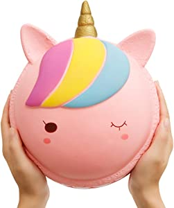 Anboor 8.3 Inches Squishies Jumbo Unicorn Macaron Kawaii Slow Rising Scented Pink Giant Squishies Kids Toy Gift Collection