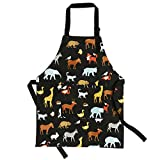 Jennice House Child Aprons 100% Pure Cotton Canvas Kids Artists Aprons with Adjustable Neck Strap and Pocket Animal Print Child Chef Aprons for Boys and Girls