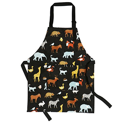 Jennice House Kids Aprons 100% Pure Cotton Canvas Kids Artists Aprons with Adjustable Neck Strap and Pocket Animal Print Child Chef Aprons for Boys and Girls in 2 Size