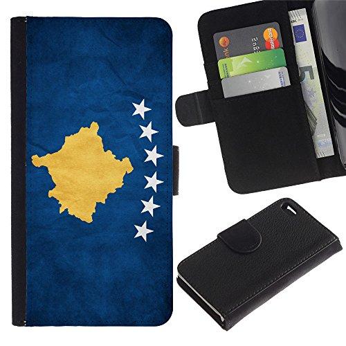 LASTONE PHONE CASE / Luxe Cuir Portefeuille Housse Fente pour Carte Coque Flip Étui de Protection pour Apple Iphone 4 / 4S / National Flag Nation Country Kosovo